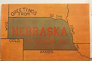Nebraska NE Map Greetings Postcard Old Vintage Card View Standard Souvenir Post