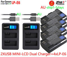 4xLP-E6 Battery+2xLCD Charger For Canon EOS 5D Mark II III EOS 70D 7D 60D 80D AU