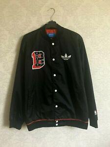 Adidas NBA STD JKT BULL Black Red White Men Jacket Fashion Chicago Bulls Size M