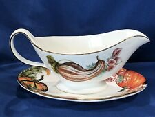 NEW Williams Sonoma Thanksgiving Harvest Pumpkin Gravy Boat & Saucer 14K 2 Avail