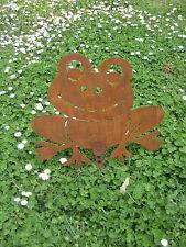 rana, frog, grenouille, frosch, decoro per giardino in acciaio corten