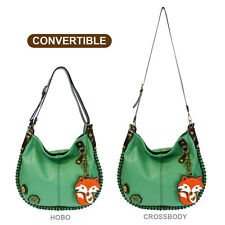 New Chala CONVERTIBLE Hobo Large Tote Bag FOX Vegan Leather Teal Green gift