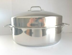 Vintage ALL-CLAD Stainless Steel 10 Qt Covered Oval Roaster Pan W/Lid
