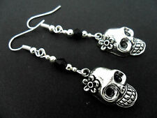 A PAIR OF TIBETAN SILVER FLOWER SKULL HALLOWEEN  GOTH   EARRINGS. NEW.