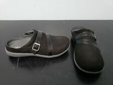Womens SPENCO Black Leather Solid Slip On Mules Shoes Size US 7.5 WIDE EUR 38