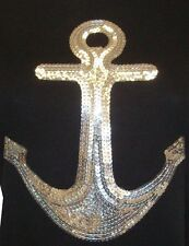 SILVER  SEQUIN ANCHOR  IRON ON TRANSFER,TANK TOP, T-SHIRTS TRANSFERS
