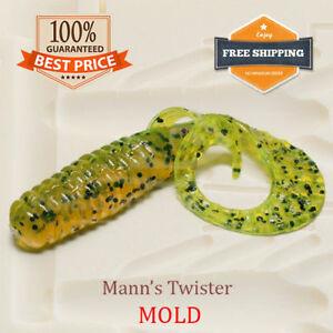 🔥 Twister Bait Mold Mould Grub Fishing Soft Plastic Lure 37-75 mm