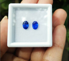 Pair 2pcs. 6x4 mm. Great Oval Neon Blue Tanzanite, Excellent Cut! AAA++