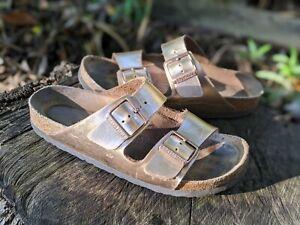 Birkenstock Rose Gold Arizona Soft Footbed Sandals Size 39 8-8.5