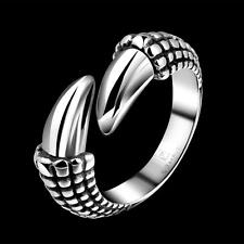 Mens silver punk 316L stainless steel ring Dragon Claw gothic biker US Sz 8 J0JG