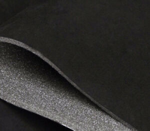 """Black Suede Foam Backed Headliner Fabric for Car Interior Roof Lining - 108""""x60"""""""