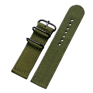 20mm 22mm Nylon Fabric Canvas Wrist Watch Band Military Sport Casual Watch Strap