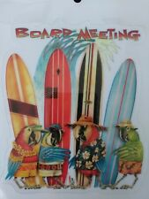 """Parrots """"Board Meeting"""" with Surf Boards / Florida /outside window cling / decal"""