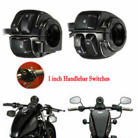 1''25mm Motorcycle Handlebar Control Switch Turn Signal For Harley Softail Black