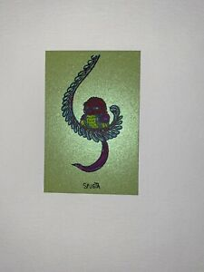 Marq Spusta Art Print Bird Micro Silkscreen Lime Green Shimmer UV Inks!