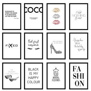Fashion Designer Quote Girls Bedroom Love Art Prints Wall Art - UNFRAMED Posters