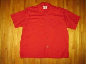 Vintage Dickies Big & Tall Men's Red Short Sleeve Work Shirt Size 4XL New