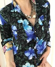 RARE WOMENS SHIRT BLOUSE BUTTONS FLORAL PRINT COTTON MADE IN ITALY SZ 14