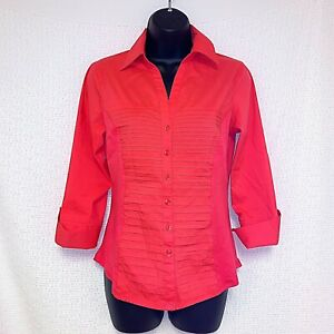 Investments Petite Women's Size Small Coral Pink Button up Pleated Front