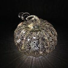 "Silver Mercury Glass Lighted LED Pumpkin Thanksgiving Halloween Harvest Decor 6"""