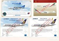 Emirates, Singapore Airlines, United Airlines Aircraft Illustration Prints