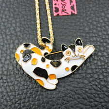 White Black Enamel Cat Animal Betsey Johnson Pendant Necklace Chain/Brooch Pin