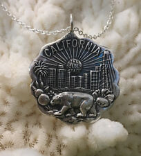 """Sterling vintage reproduction """"California"""" state seal pendant neck, bear flag"""