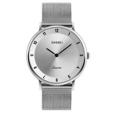 Skmei Mens Watch Silver Dial Ultra Thin Stainless Steel Mesh Strap Silver Black