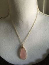 """Pear shaped pink stone pendant on 18"""" (adjustable) gold chain - necklace (jhsgf)"""