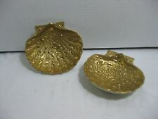 Weeping Bright 22kt Gold Porcelain Calm Shells Candy Nut Trinket Dishes Set of 2