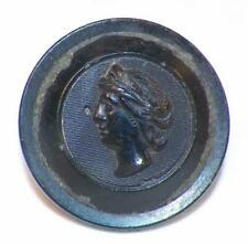Antique Black Horn Picture Button Woman's Head Classic Traditional Wire Shank #1