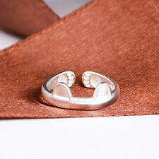 925 Sterling Silver Plated Adjustable Open Ring Thumb Lady Gift Man Cute Cat Ear
