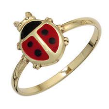 Kinder Ring Marienkäfer 333 Gold Gelbgold schwarz rote Lackeinlage Goldring