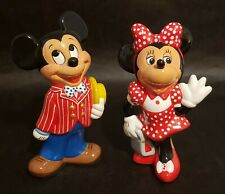 Disney's MICKEY MOUSE & MINNIE MOUSE Hand Painted Bisque Figurines SET OF 2