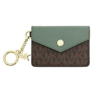 Michael Kors Kala Ladies Small Brown/Green Signature Leather Flap Key Ring Coin/