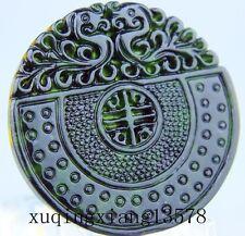 100% Natural chinese black green Jadeite jade pendant necklace dragon hand-carve