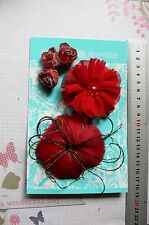 RED Feather Facinator, Flower & Gold Rose Fabric 8 Flower Pk 20-80mm Manor House