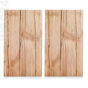2x Herdabdeckung Herdabdeckplatten Ceranfeld Schneidebrett Abdeckung Glas Holz