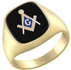 Men's 14k Yellow Gold Blue Lodge Onyx Gemstone Freemason Ring Sizes 8 to 14
