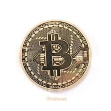 Gold Plated Bitcoin Coin Collectible Physical BTC Coin Art Collection with Case