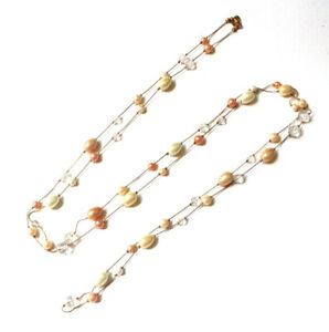 Fashion Necklace white faux pearls silver color chain 33 inches