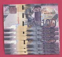 LOTE X 5 BILLETES KENIA 100 SHILINGI  !! NOVEDAD 2019 !! SC / UNC   P-NEW