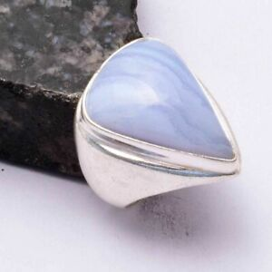 Blue Lace Agate Ethnic Handmade Men's Ring Jewelry US Size-7 AR 44495