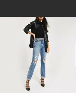 Ex River Island Mom High Rise Ripped Denim Lose Fit Jeans