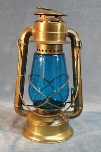 Brass Dietz Junior with Teal Globe Kerosene Lantern Syracuse Feb 2, 1929