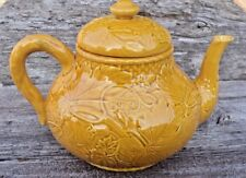 Bordallo Pinheiro Teapot Six Cup Gold Vines & Leaves Majolica Made in Portugal