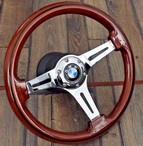 Steering Wheel Fits BMW Wood Chrome Polyshed Spokes E31 E32 E34 E36 Z3 1992-1998