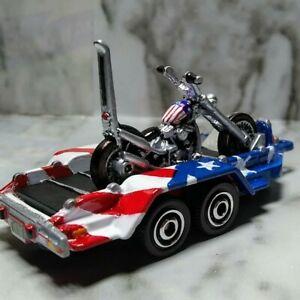 New! ..MATCHBOX Custom!!..CPT America! CHOPPER w/Flag trailer... Zgrafx KusTomZ