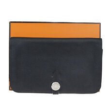 Authentic HERMES Logos Dogon GM Bifold Long Wallet Purse Leather Black 30MA037