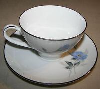 "Noritake Sylvia 6603 Cup & Saucer Set (2 3/8"" & 6"") Blue Floral Platinum Trim"